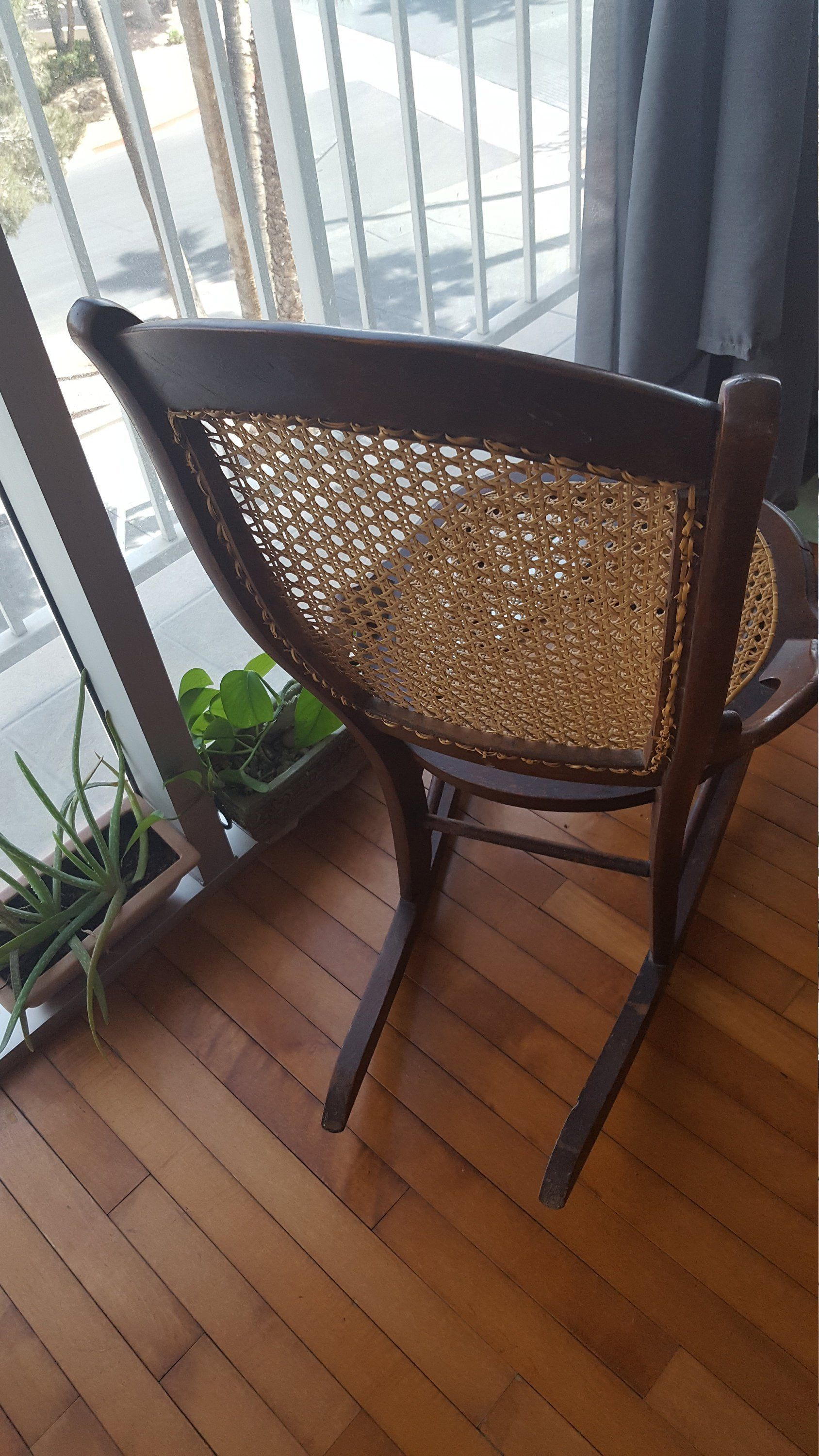 Antique rocking chair cane back and seat victorian wooden