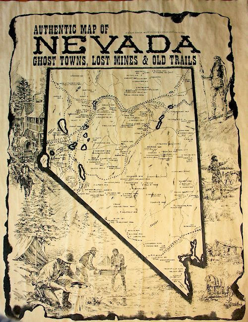Nevada Ghost Towns Lost Mines And Old Trails Map Circle Kb All