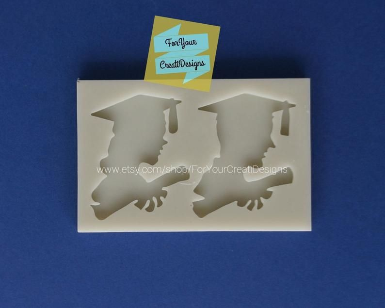 Graduation Themed Silicone Mold Girl And Boy Graduation Etsy Silicone Molds Boy Graduation Small Molds