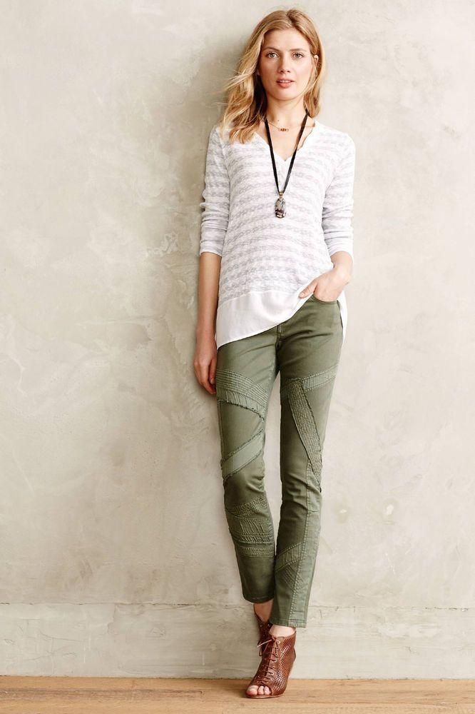Anthropologie Pilcro Stet Sateen-Stripe Jeans Size 26 Moss ...