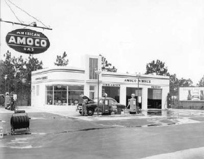 full service amoco gas station 1949 united states vintage pinterest. Black Bedroom Furniture Sets. Home Design Ideas