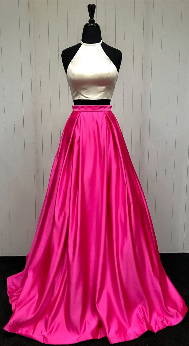A-line/Princess Halter Simple Cheap Two Piece Long Prom Dresses ...