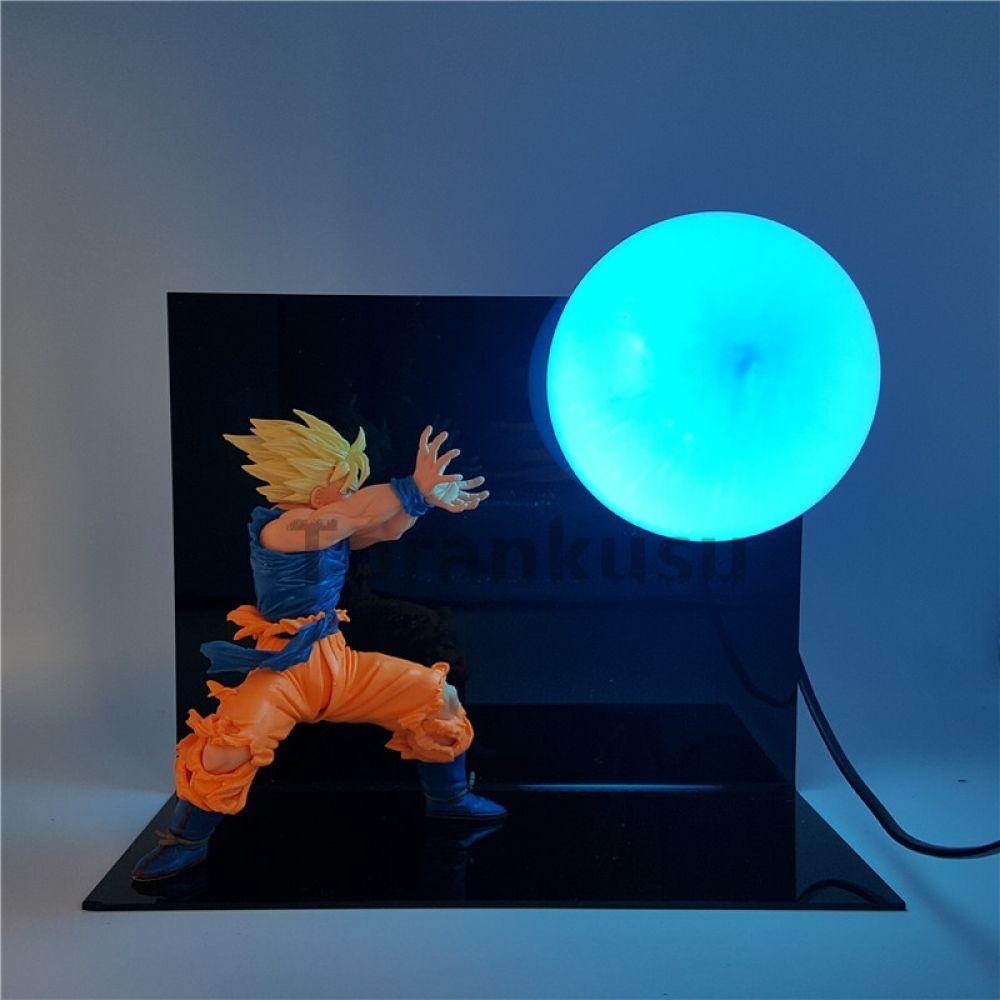 Dragon Ball Z Son Goku Action Figure Super Saiyan Kamehameha Anime Dragon Ball Z Model Toy Dbz Led Light Table Lamp Pr In 2020 Blue Lamp Light Table Anime Dragon Ball