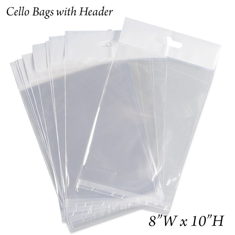 Cellophane 170102 300 Clear Cello Bags 8 X 10 Hang Top With Header Resealable Polypropylene Buy It Now Only 34 99 On Ebay Hanging Cello 10 Things