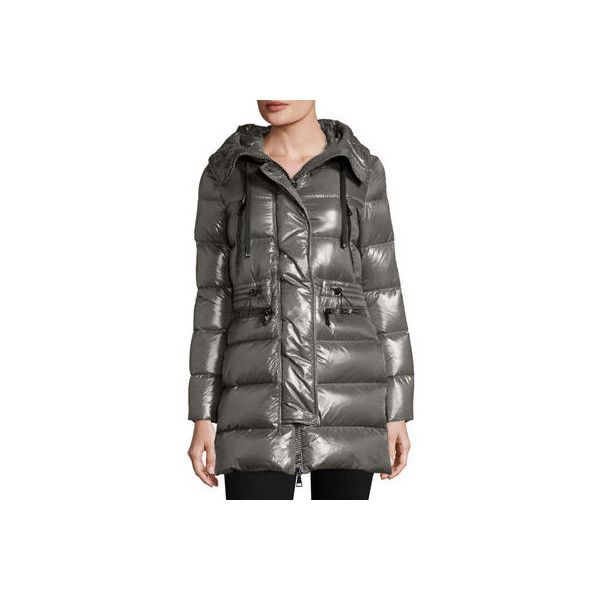 Moncler Aphrotiti Shiny Quilted Down Coat w/Fur Hood ($1,895) ❤ liked on