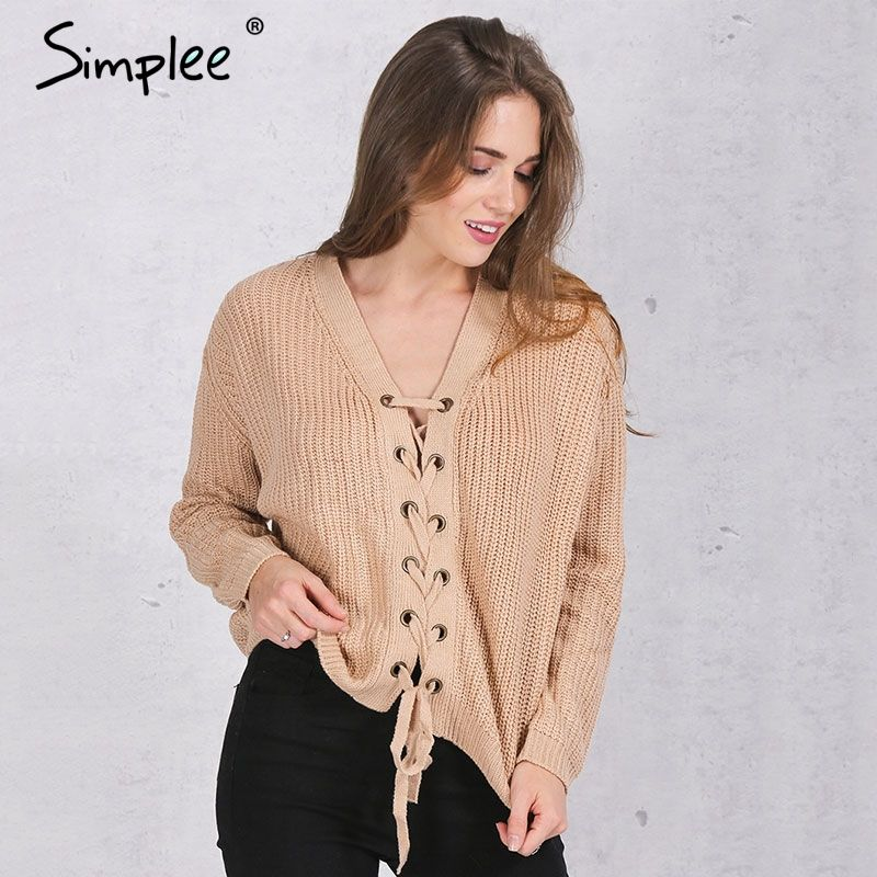 Simplee Vintage lace up nude thin sweater women Autumn winter ...
