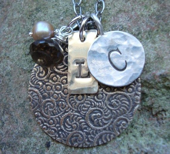 BrownEyed Girl Handstamped Paisley Pendant Necklace by MyFling, $45.00
