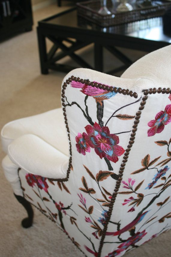 Pattern with nail head trim on back of wing back chair.  Cardinal Wing Back…