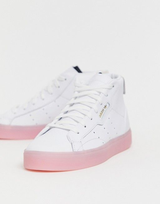 adidas Originals Sleek Mid Top Trainer in White and Pink in