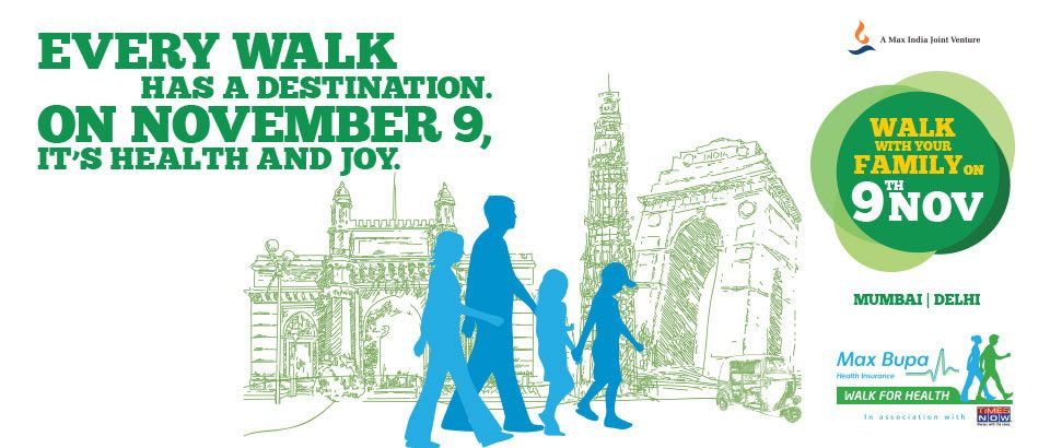 #Mumbai & #Delhi , Now is the time to walk for health and joy. Click on the image to register for #MaxBupaWalfForHealth
