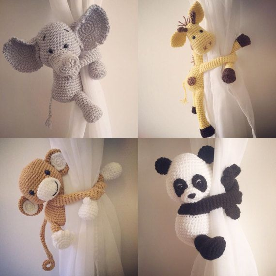 Curtain Tie Back Tieback Nursery Monkey Giraffe Panda Knitting