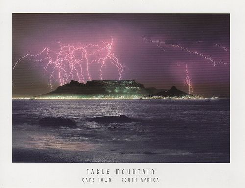 "Table Mountain - lightning ""up the sky""! Cape Town. #TableMountain"