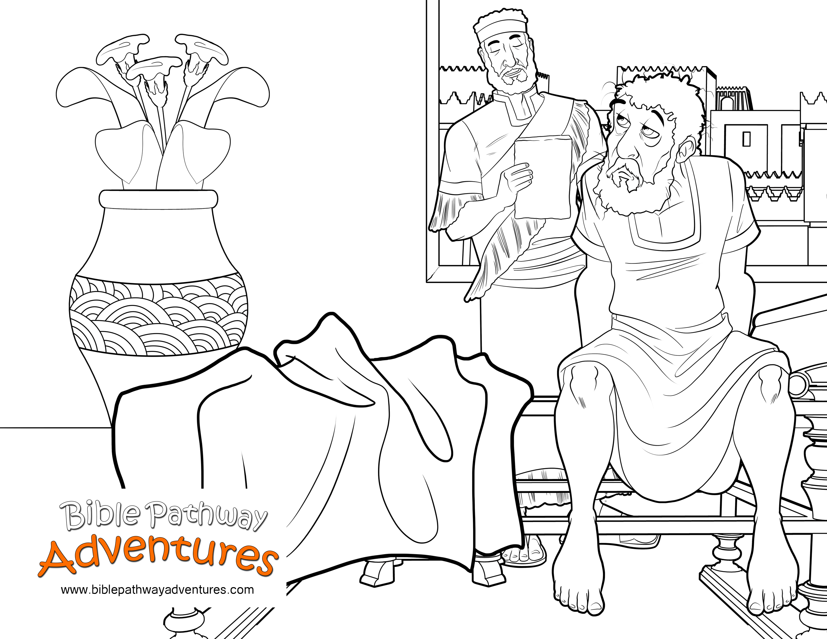 Free Bible Coloring Page: King of Persia\'s Sleepless Night | Geschichte