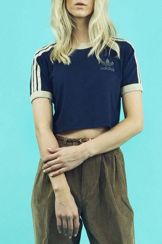 1970's Vintage Adidas Trefoil Cropped T-Shirt