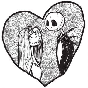 Nightmare Before Christmas Images Black And White.Pin By Rachel Kinsey On Wedding Signs Heart Coloring Pages