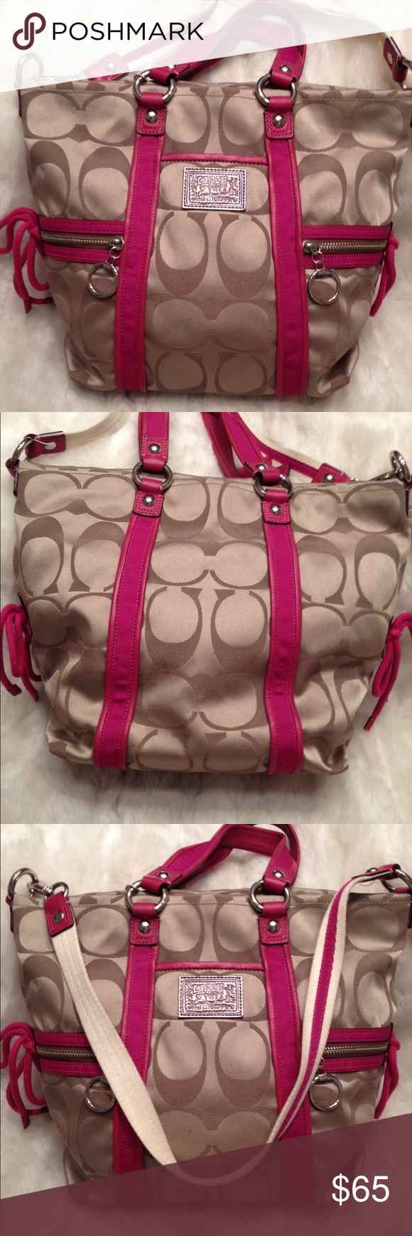 EUC COACH Poppy Tote COACH#C0969-13843. Only flaw is one small pen mark on the liner shown in pic. Good straps. Lots of space. Measures 12x13. Comes with the long strap. Coach Bags Totes