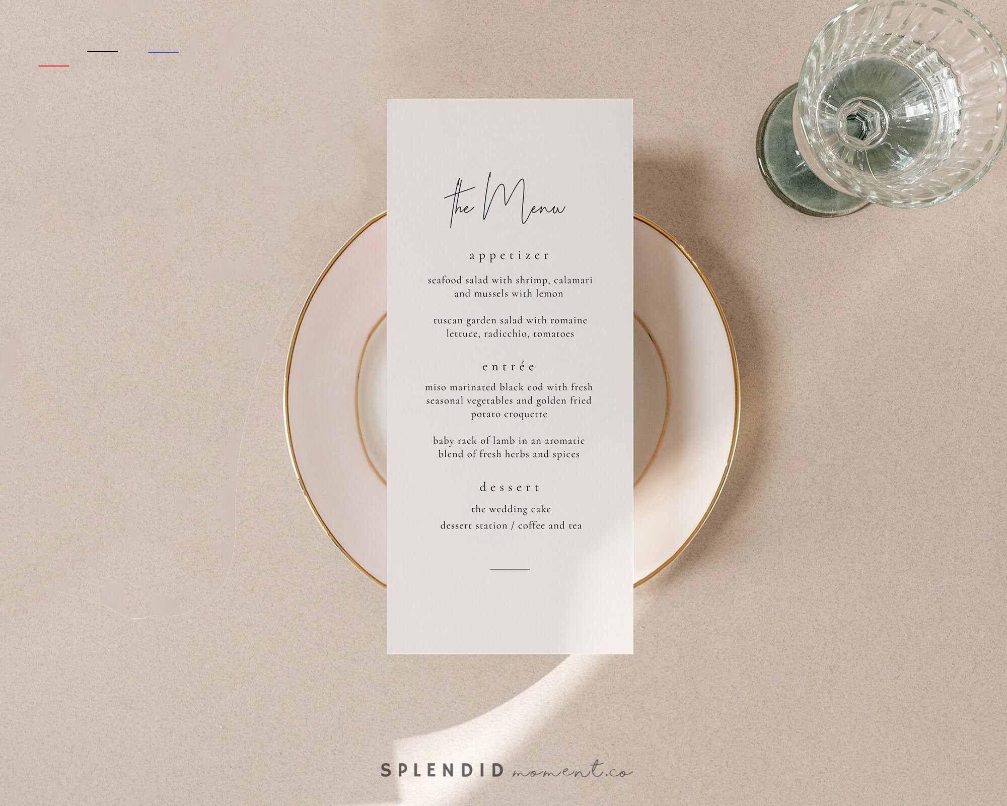 Modern Neutral Wedding Menu Template Editable Simple Wedding Menu Card Printable Minimal Wedding Menu Template Avery Weddingmenutemplate This Modern Ne