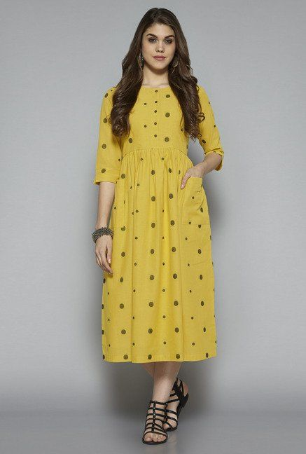 6d2651b8c4 Bombay Paisley by Westside Yellow Polka Dot Dress | utsa in 2019 ...