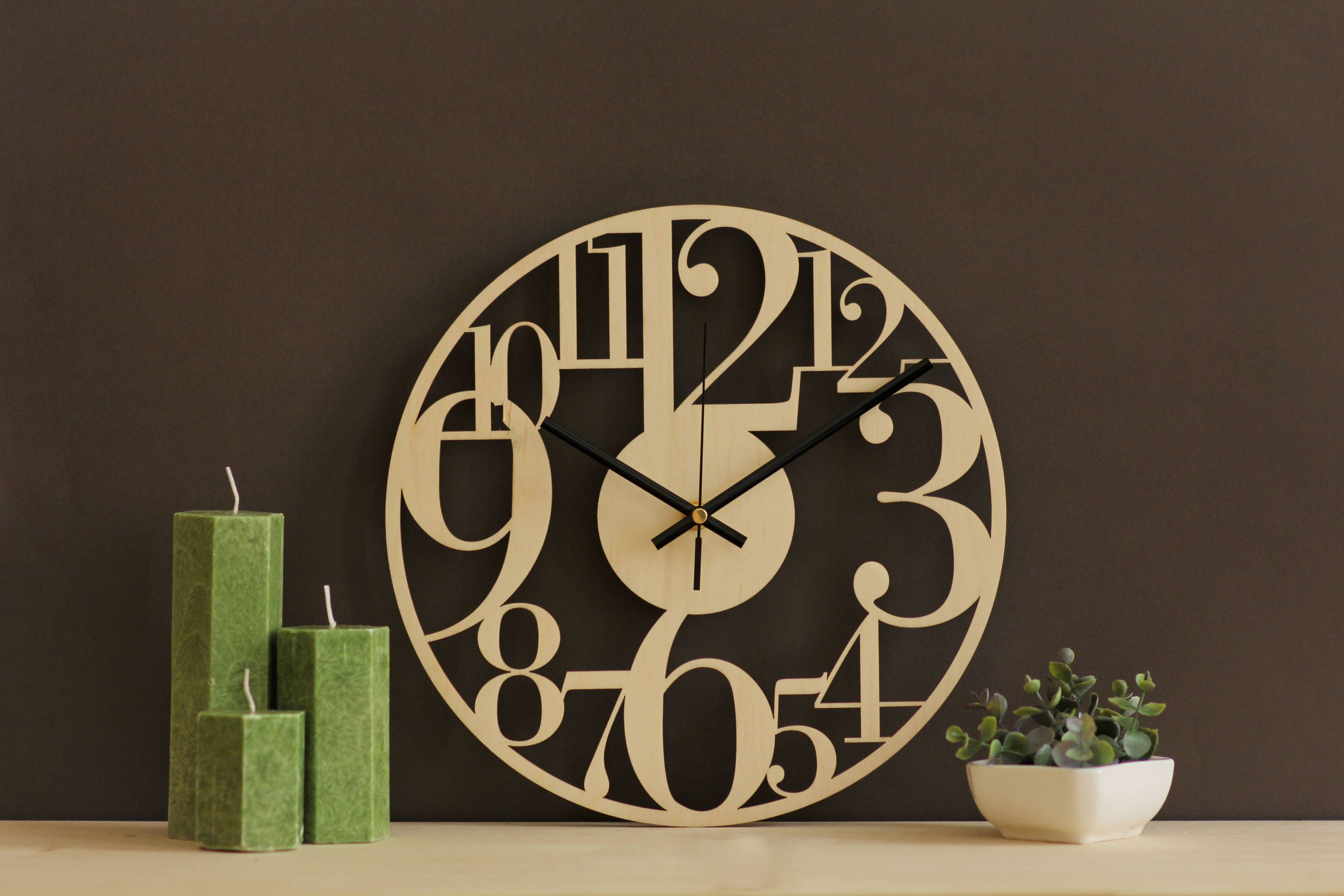 Large Numbers Wall Clock Its 11 5 29 Cm Diameter Perfect Size To Decorate Your Favorite Wall Our Wo Rustic Wall Clocks Wood Wall Clock Unique Wall Clocks