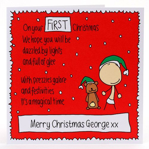 Baby S First Christmas Personalised Card You Can Personalise The
