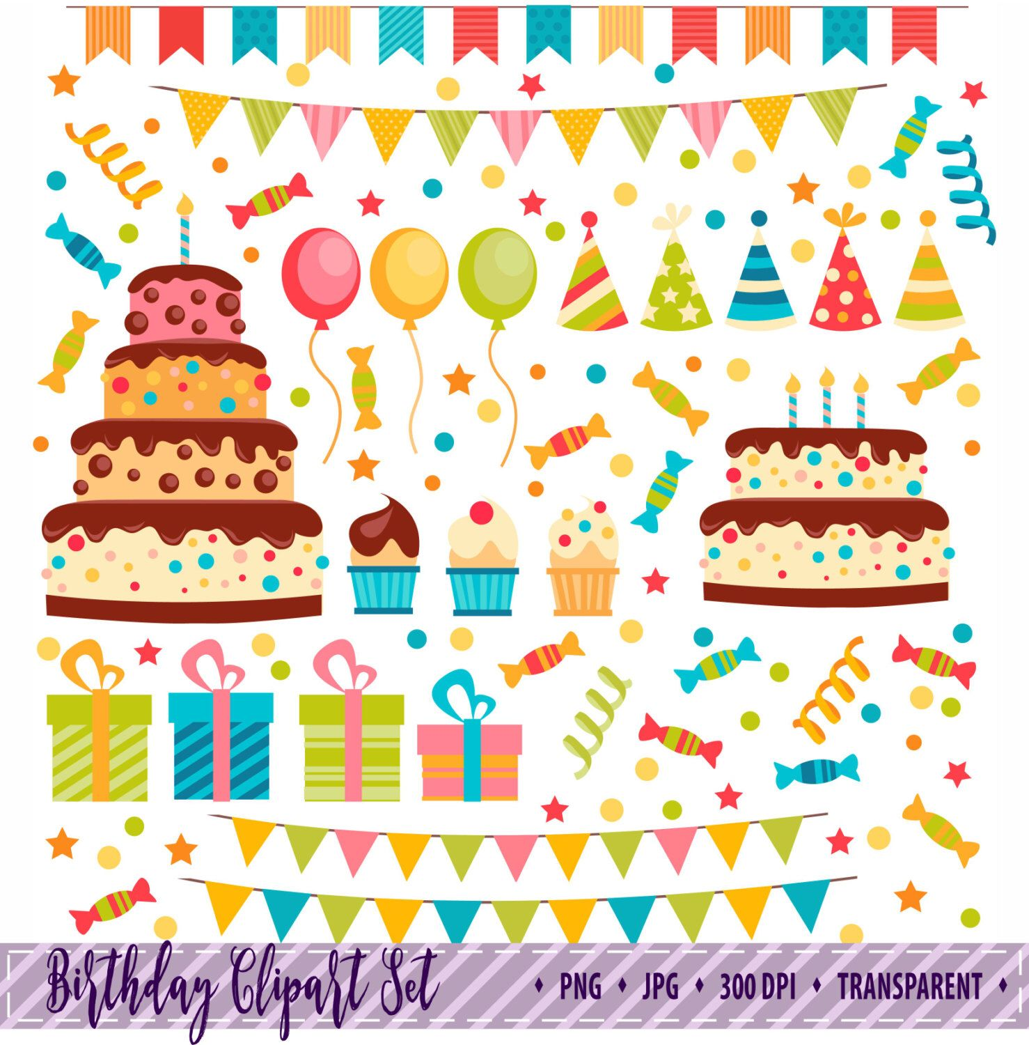50 OFF SALE Party Clipart Birthday Clip Art Bunting