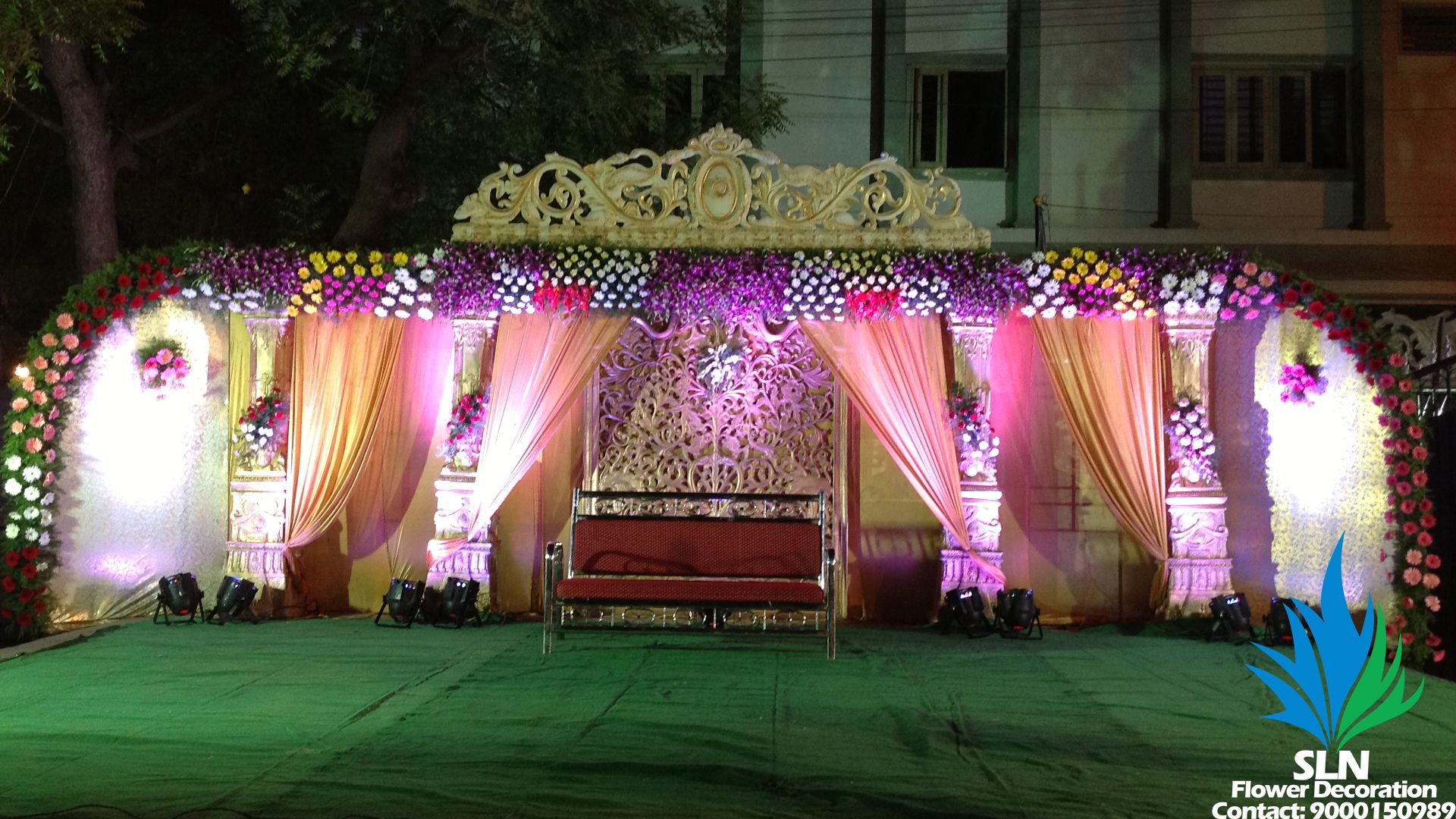 Reception Stage 2 | Stage decorations, Flower decorations, Wedding ...