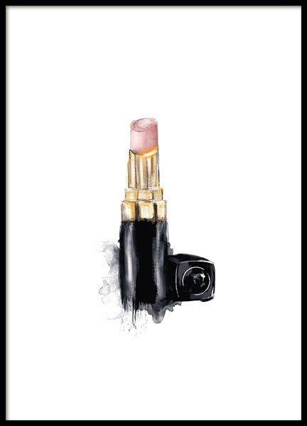 Poster mit eleganter Illustration eines Lippenstifts von Chanel. Dieses Poster lässt sich leicht zusammen mit dem Chanel Nagellack-Poster oder dem Chanel Parfüm-Poster kombinieren. In einem Goldrahmen strahlen die Chanel-Poster ein noch intensiveres Gefühl von Luxus und Exklusivität aus. www.desenio.de - Pinmodealle #deseniobilderwand