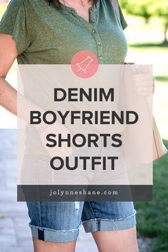 These denim boyfriend shorts with linen henley tee and strappy studded sandals are the perfect casual summer outfit for women over 40.#Boyfriend #Shorts #Outfit #Summer #DenimDenim Boyfriend Shorts Outfit for Summer