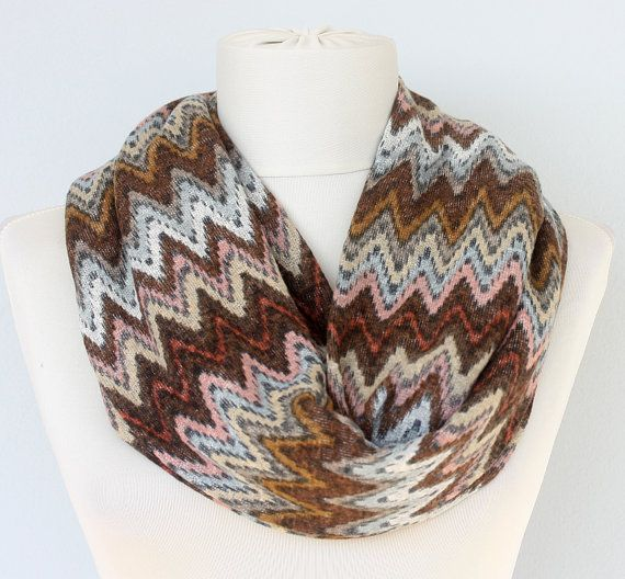 Photo of Chevron infinity scarf missoni inspired knit scarf cotton jersey scarf zigzag valentines day gift under 20