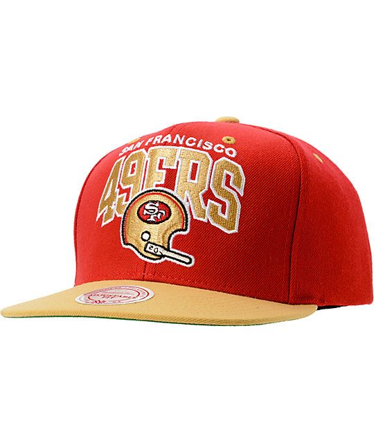 NFL Mitchell and Ness 49ers Arch Helmet 2Tone Red Snapback Hat ...