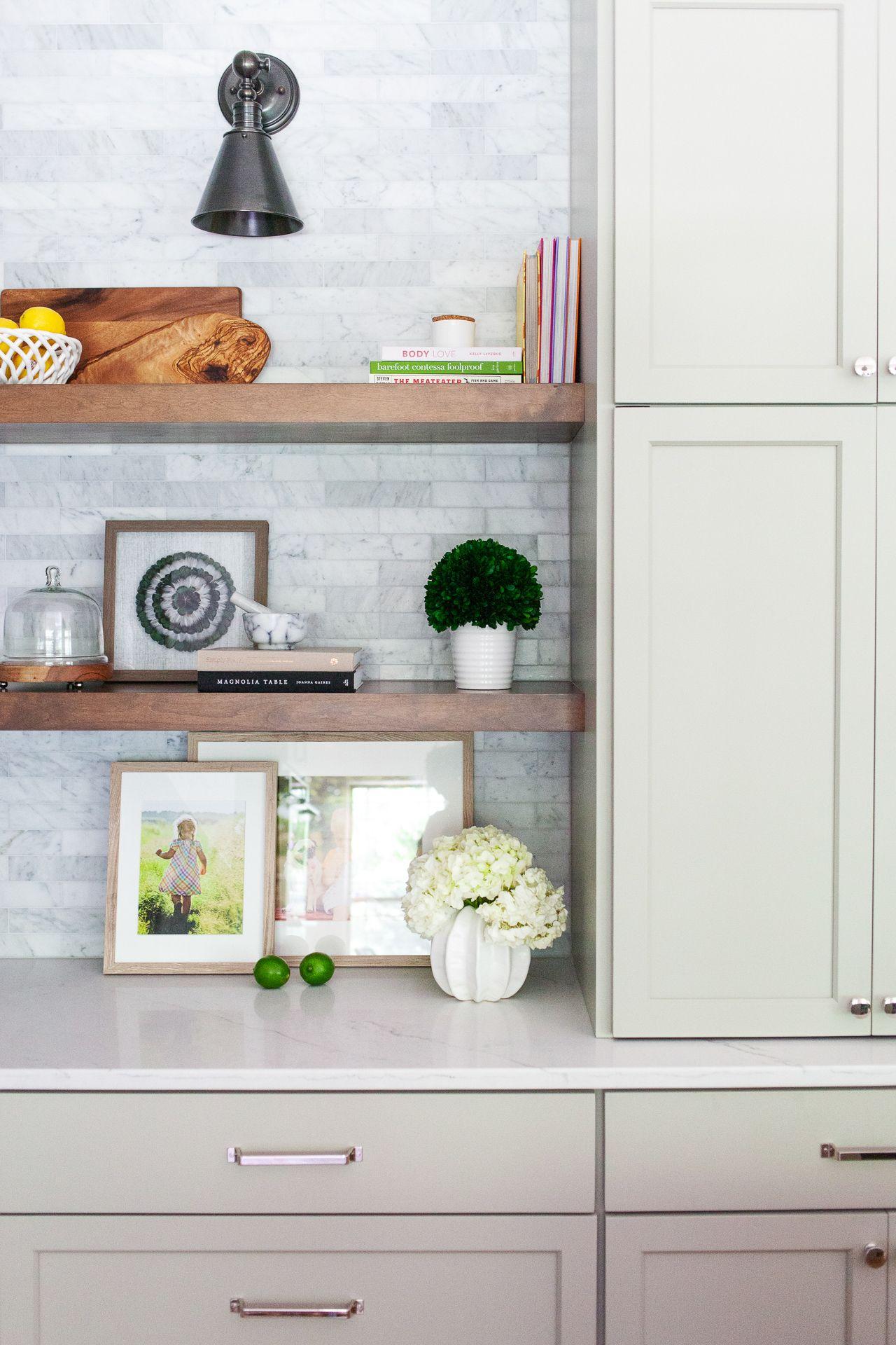 Floating shelves + corner shelves + running bond tile on ... on Corner Sconce Shelf Cabinet id=60637