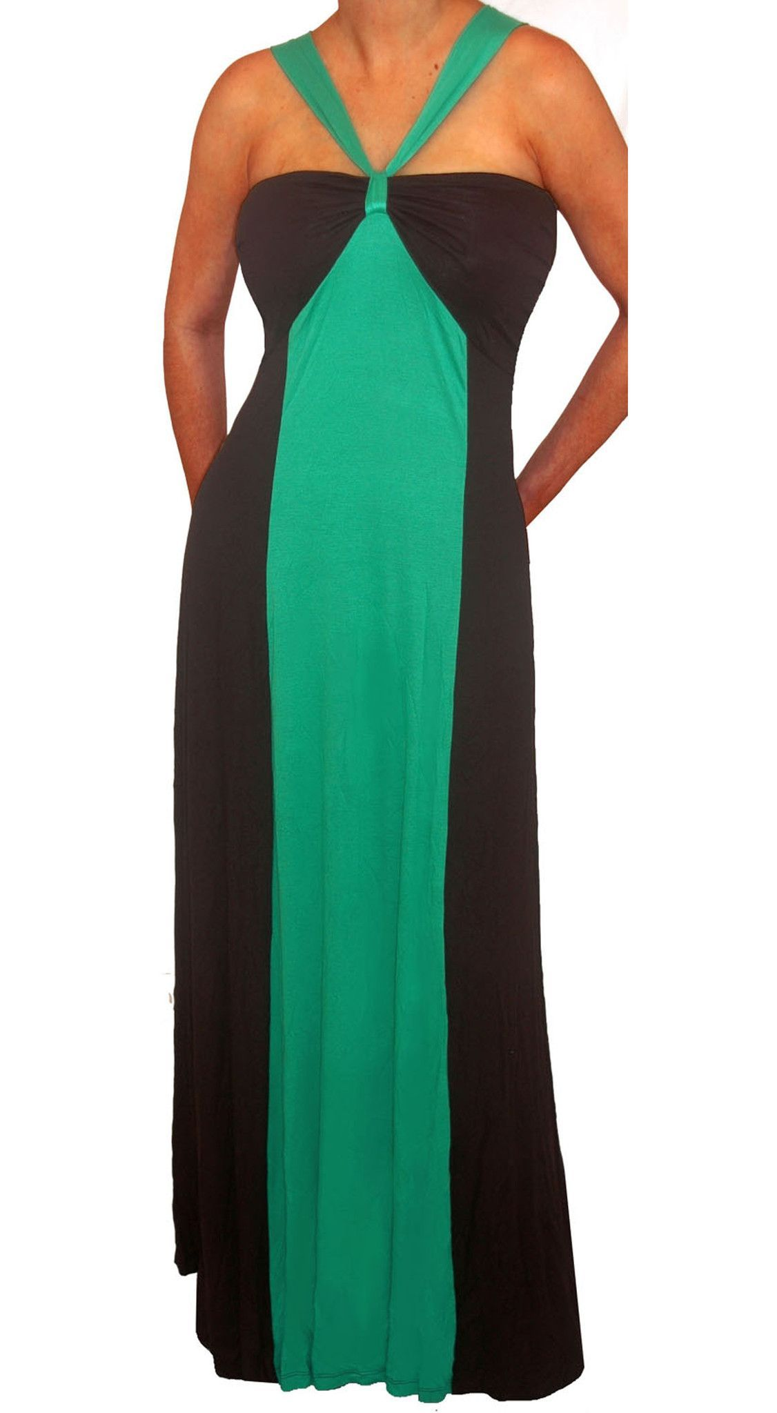 Plus size green black color block halter long maxi dress in