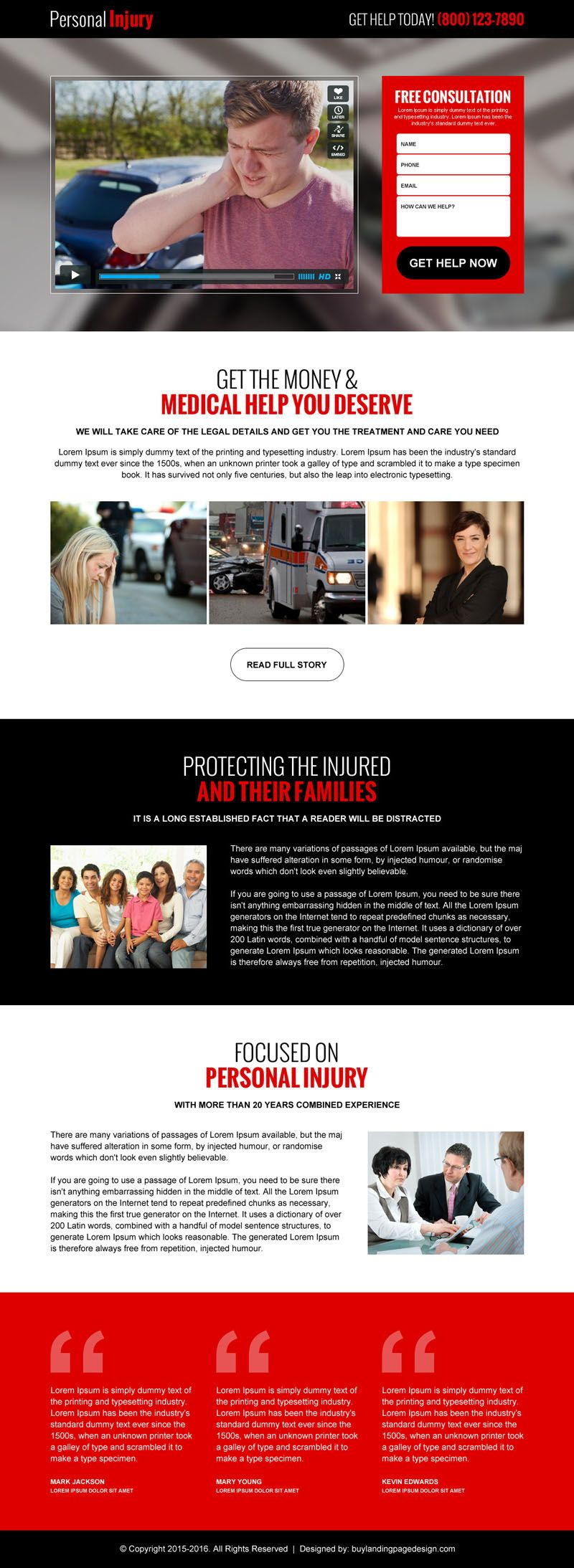 Personal Injury Lead Generation Best Video Landing Page Design - Personal landing page template