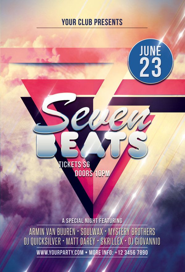 Seven Beats Flyer Template by styleWish , via Behance print - example flyer