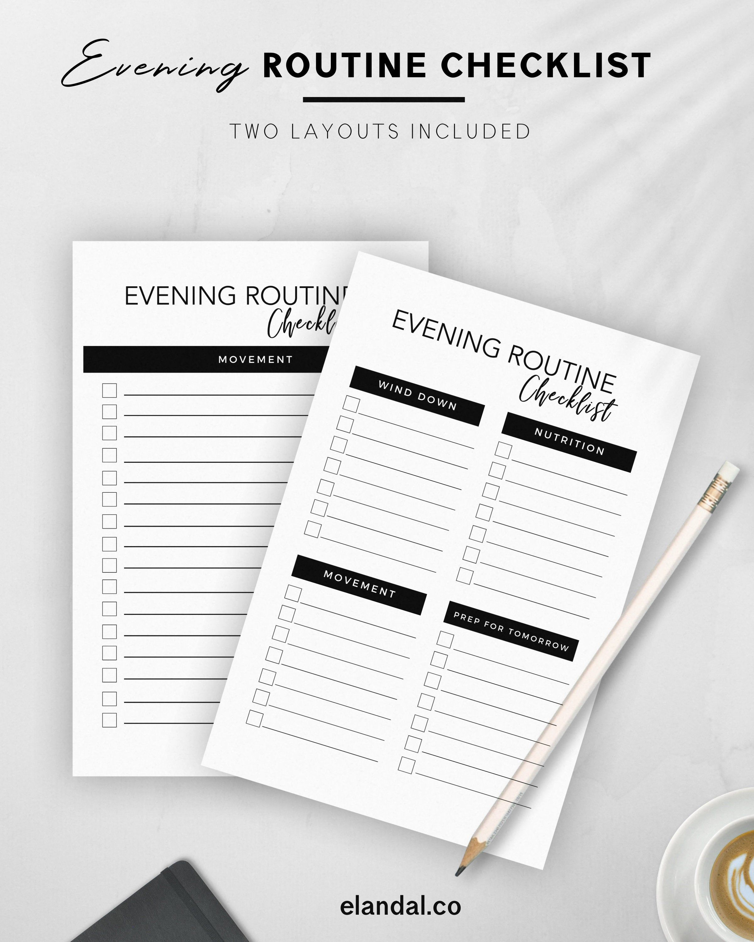 Evening Routine Printable Checklist For Adults Habit