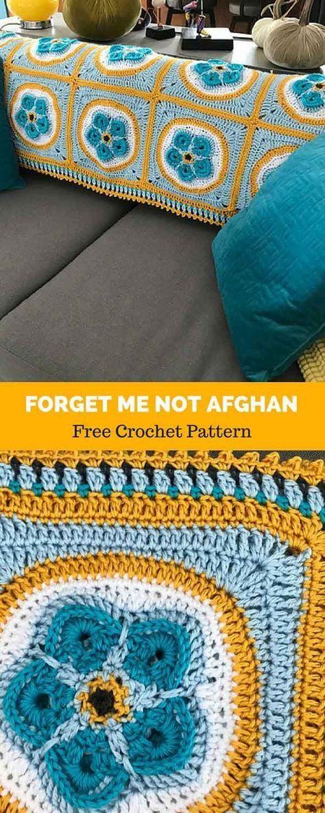 Forget Me Not Afghan [ FREE CROCHET PATTERN | Manta, Cobija y Tejido