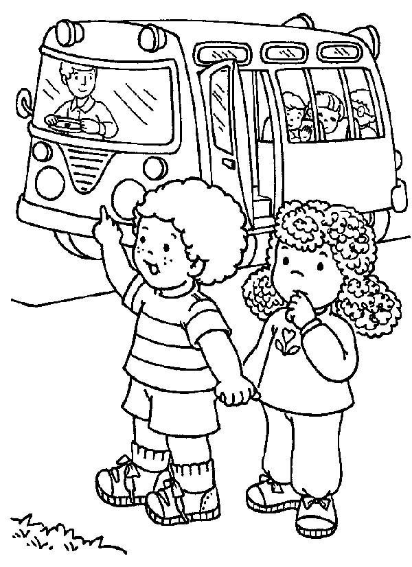 Two Students Stopping the School Bus on First Day of School Coloring ...