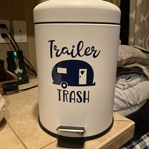 Trailer trash camper decal - retro rv sticker - vinyl trash can decal - RV decal sticker- campsite decor - camper decor - trailer decal