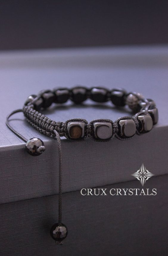onyx cube men 39 s black onyx beaded bracelet energy. Black Bedroom Furniture Sets. Home Design Ideas