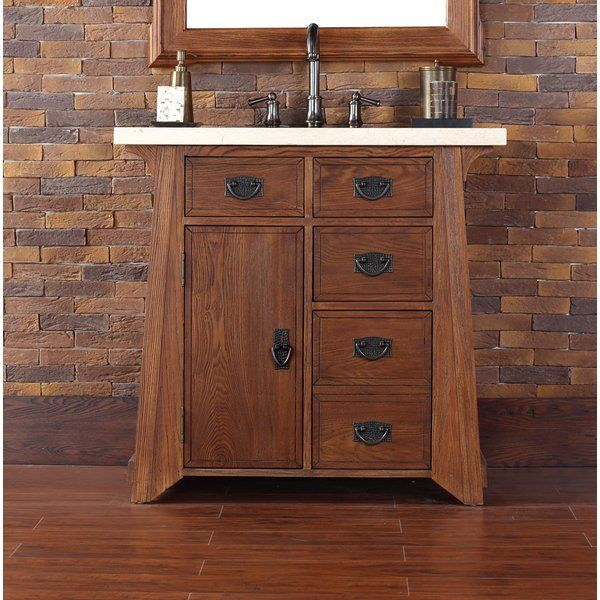 This Antique Oak vanity features an Arts and Crafts style. One door with  shelf for additional storage. Four total drawers include a double height b… - This Antique Oak Vanity Features An Arts And Crafts Style. One Door