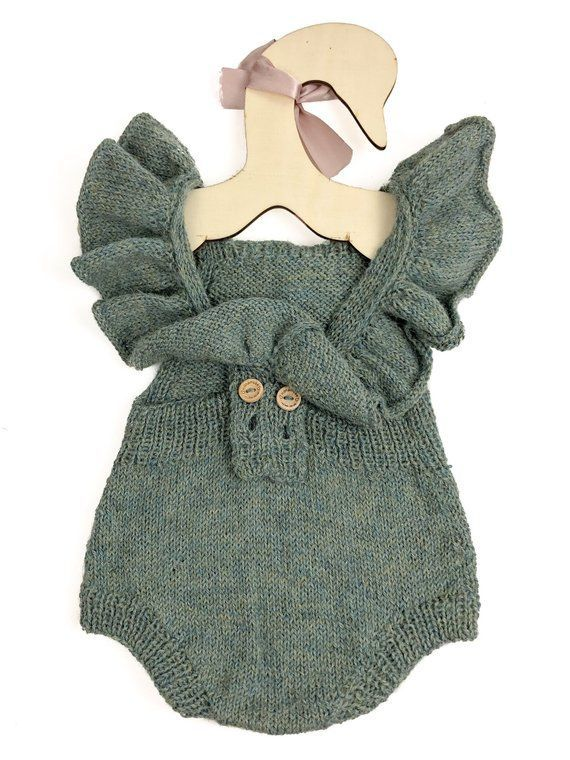 Photo of Baby Girl Alpaca Romper with ruffles, Infant Girl Baby Overalls, Baby Girl Boho Clothes, Newb…