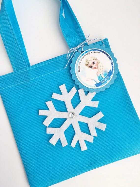Set Of 12 Frozen Favor Bags With Personalized Thank You Tags