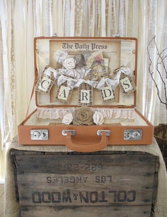 Card Box Vintage Suitcase Wedding Card Holder Shabby Chic, Vintage, Rustic Wedding #vintagesuitcasewedding Card Box Vintage Suitcase Wedding Card by TheShabbyChicWedding, $100.00 #vintagesuitcasewedding