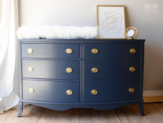Painted bow front dresser navy blue gold hardware diy for Navy blue painted furniture