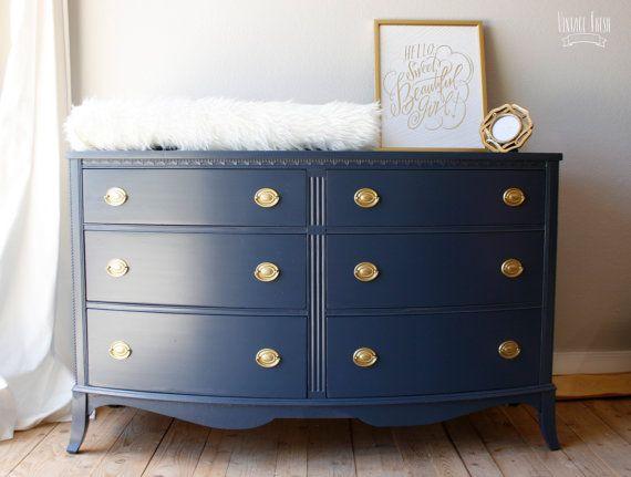 Painted Bow Front Dresser navy blue gold hardware | Decoración de ...