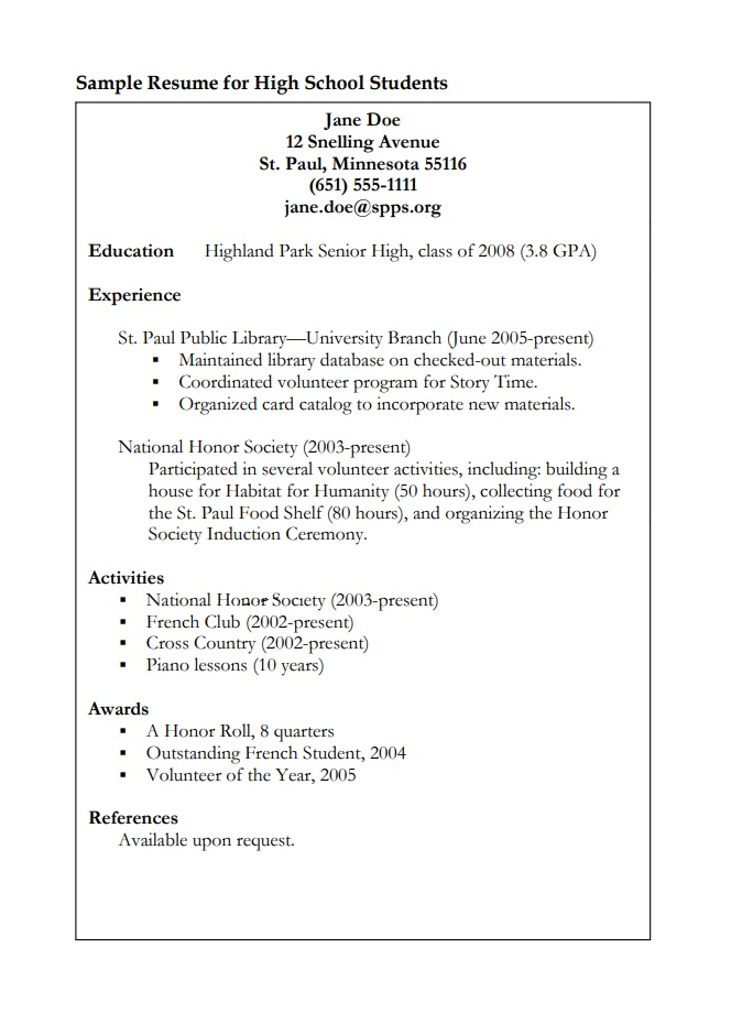 College Student Resume Templates 10 Free Printable Word Pdf