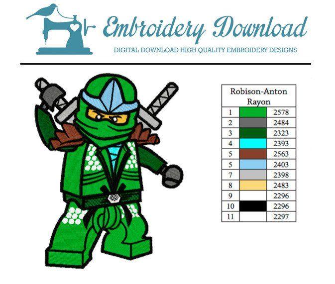 Machine Embroidery Ninjago designs for boys Green Ninja Embroidery pattern Lego