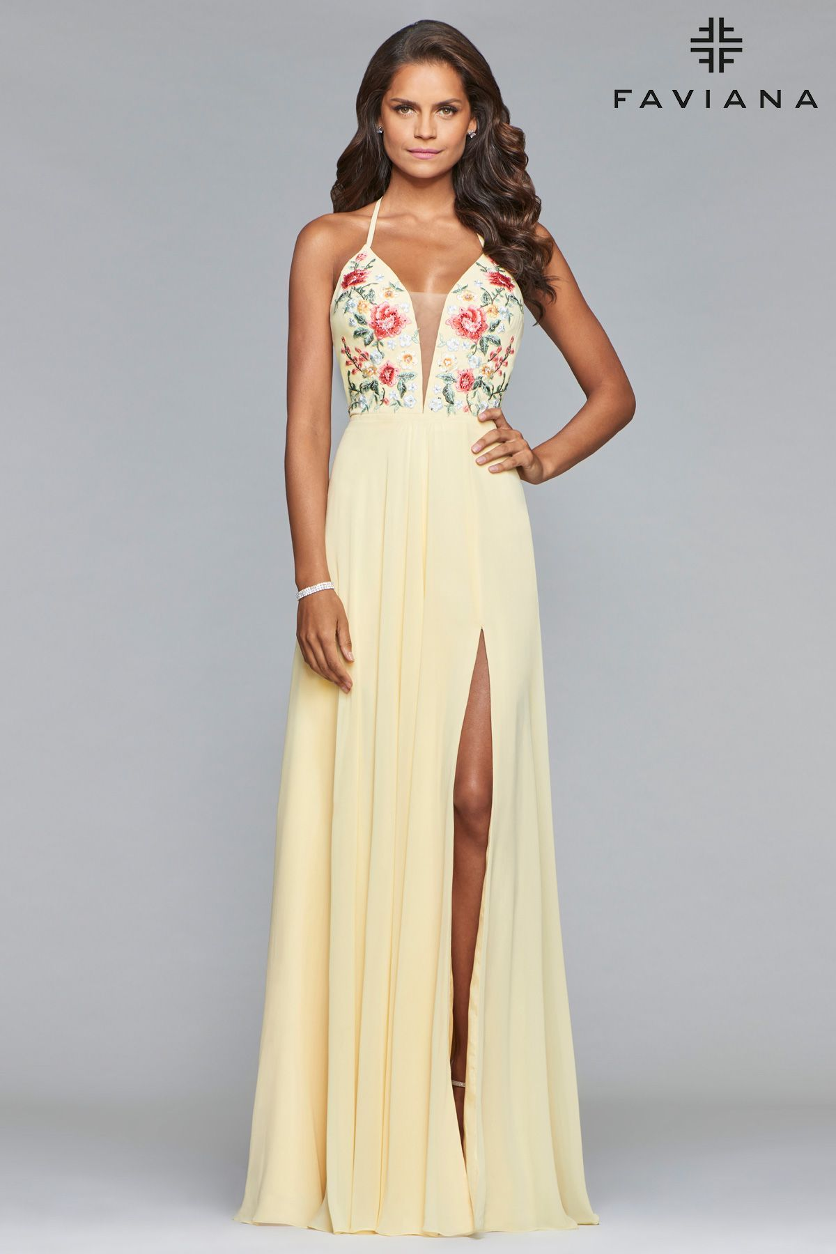 660f55eb1f0 Dreaming of embroidered prom dresses  Faviana Style 10000 is a yellow Long  chiffon v-neck dress with embroidered bodice and full skirt