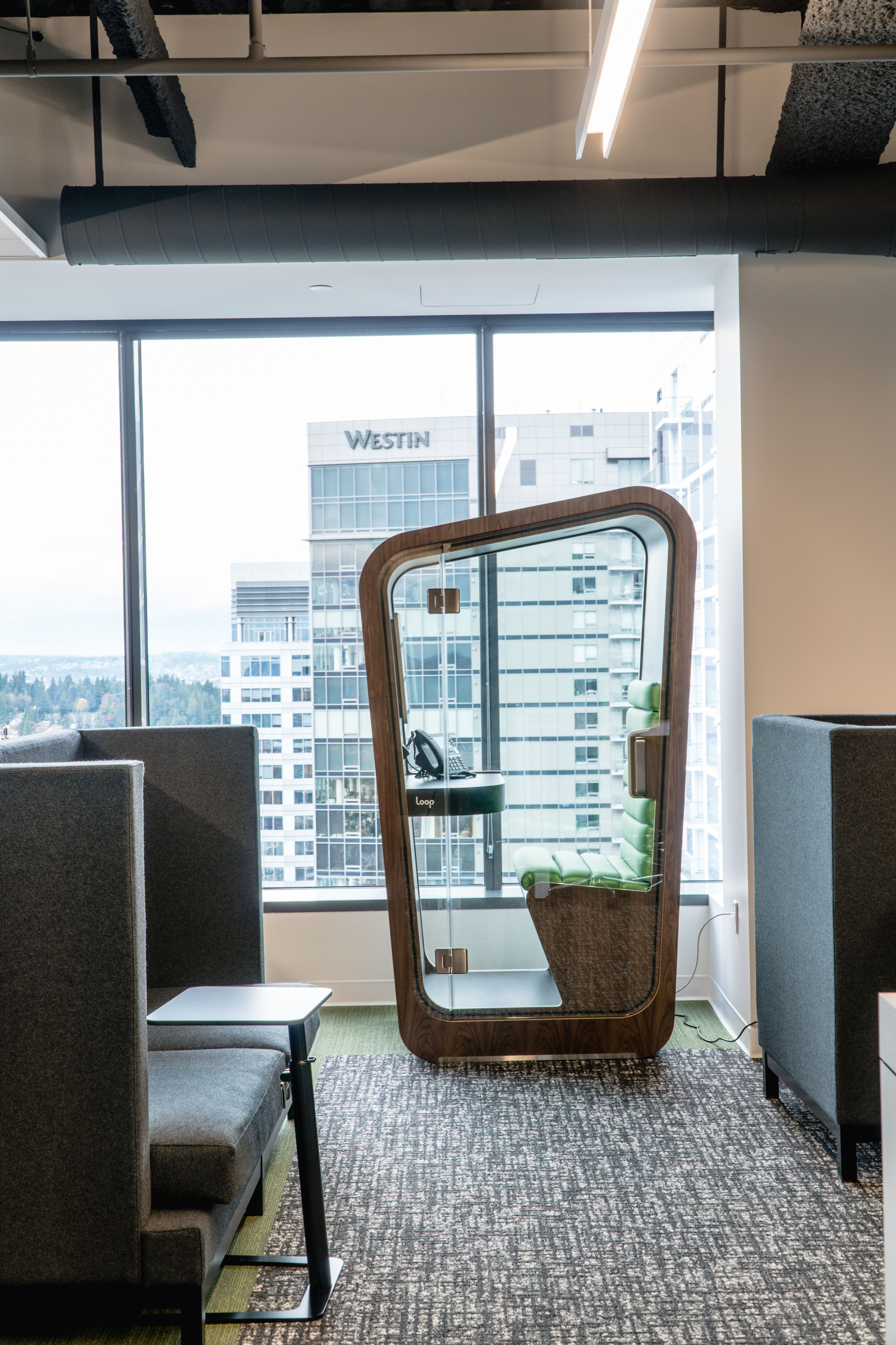 Loop Phonebooth By Onetwosix Design Beautiful Office Design Common Area With Privacy Pods In An