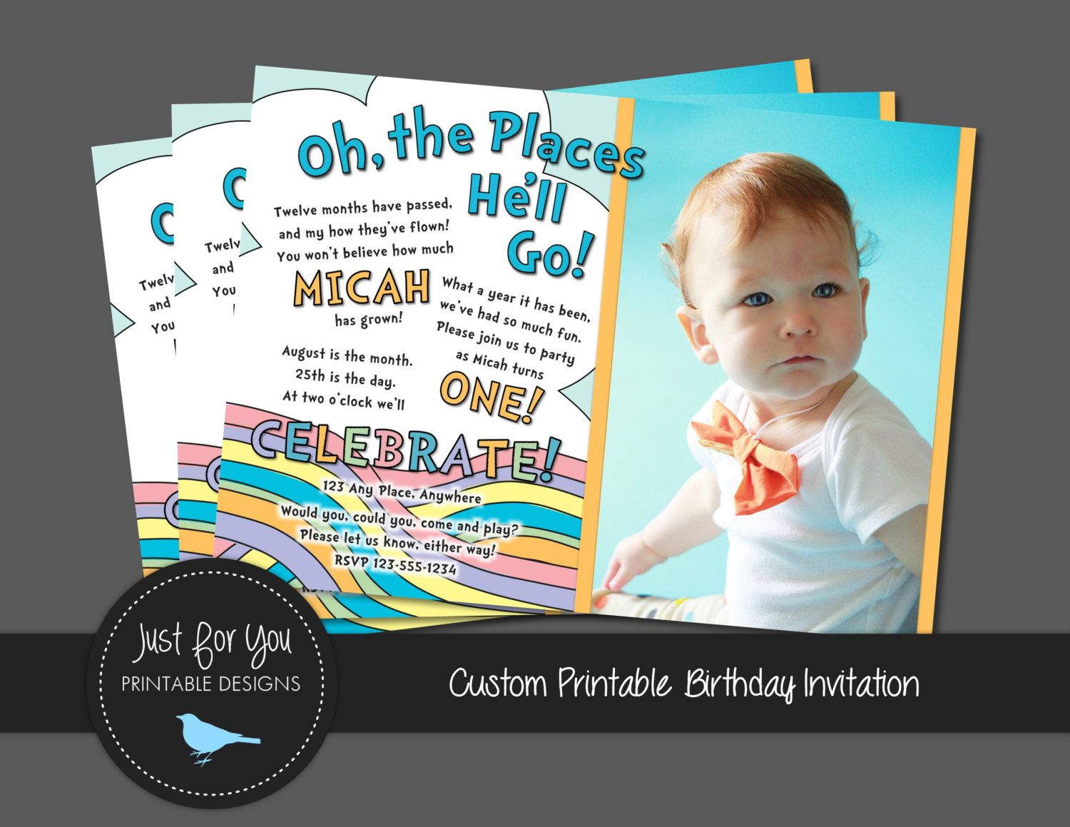 First or Second Birthday Invitation Oh the by 4UPrintableDesigns ...